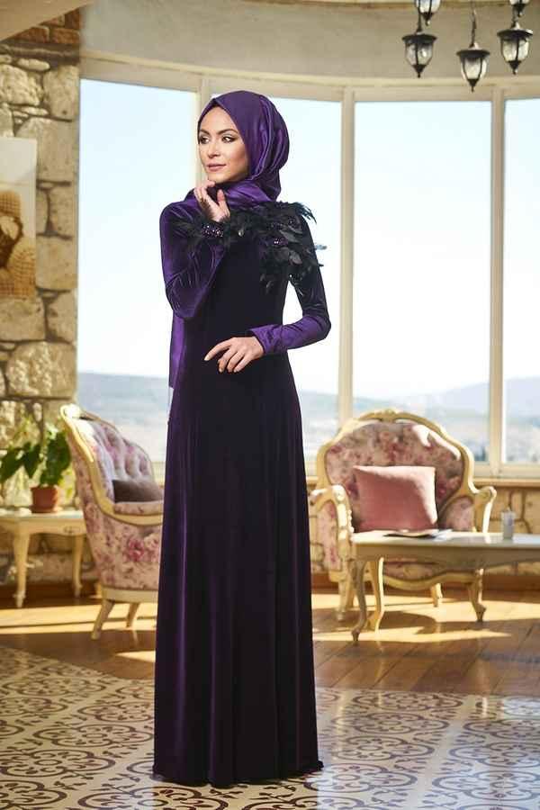 Minel Aşk Tesettür Kadife Elbise Modelleri