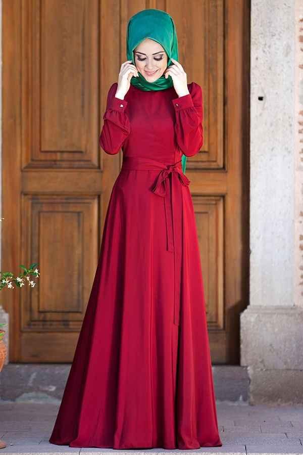 Minel Aşk Tesettür Kuşaklı Elbise Modelleri