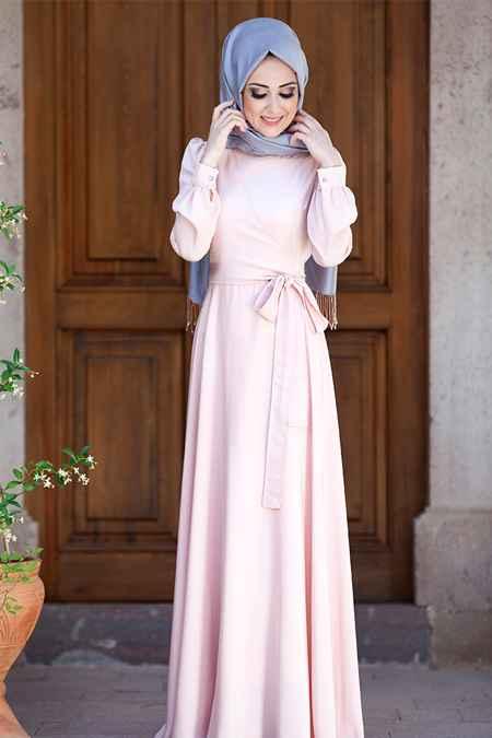 Minel Aşk Tesettür Pudra Elbise Modelleri
