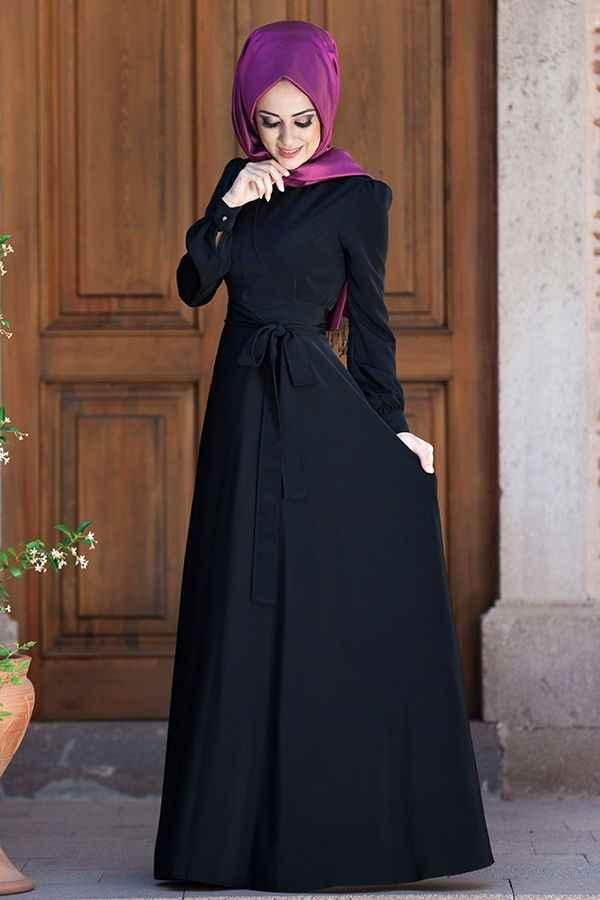 Minel Aşk Tesettür Siyah Elbise Modelleri