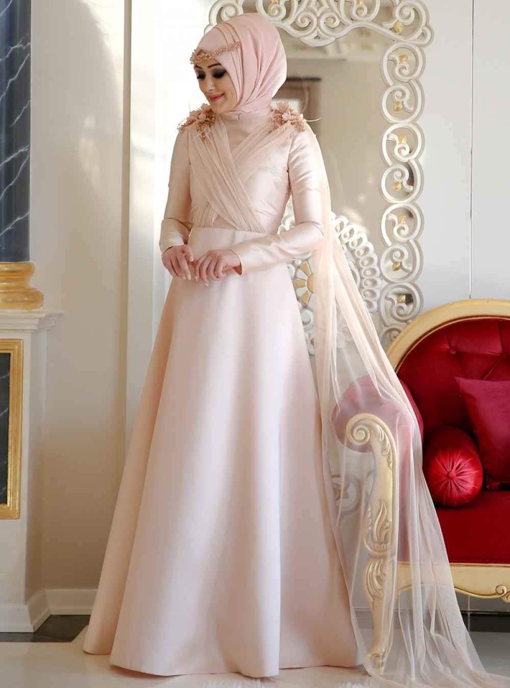 Minel Aşk Tesettür Somon Abiye Elbise Modelleri