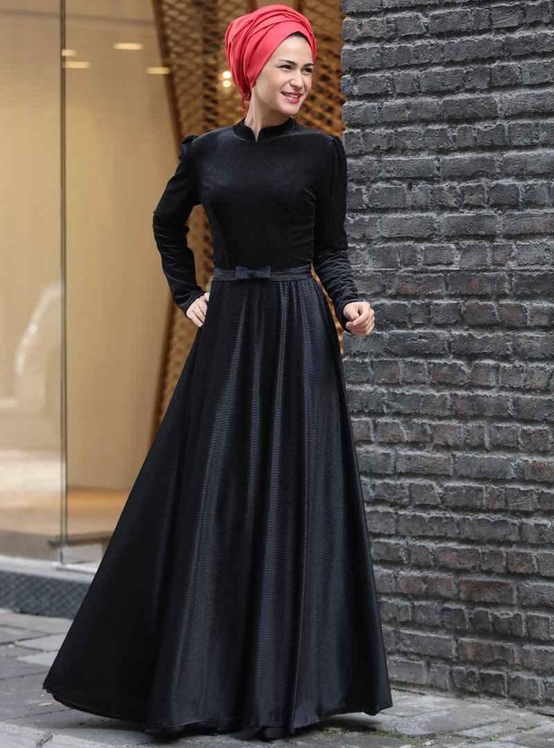Miss Zera Tesettür Kadife Elbise Modelleri