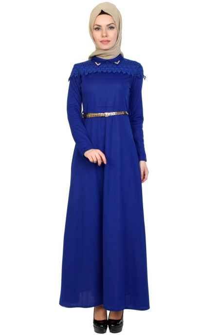 Moda Yaprak Tesettür Mavi Renk Elbise Modelleri
