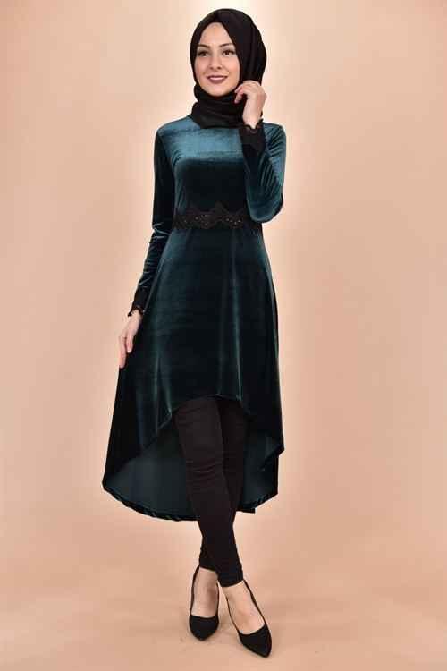 Modamerve Şık Tesettür Kadife Tunik Modelleri