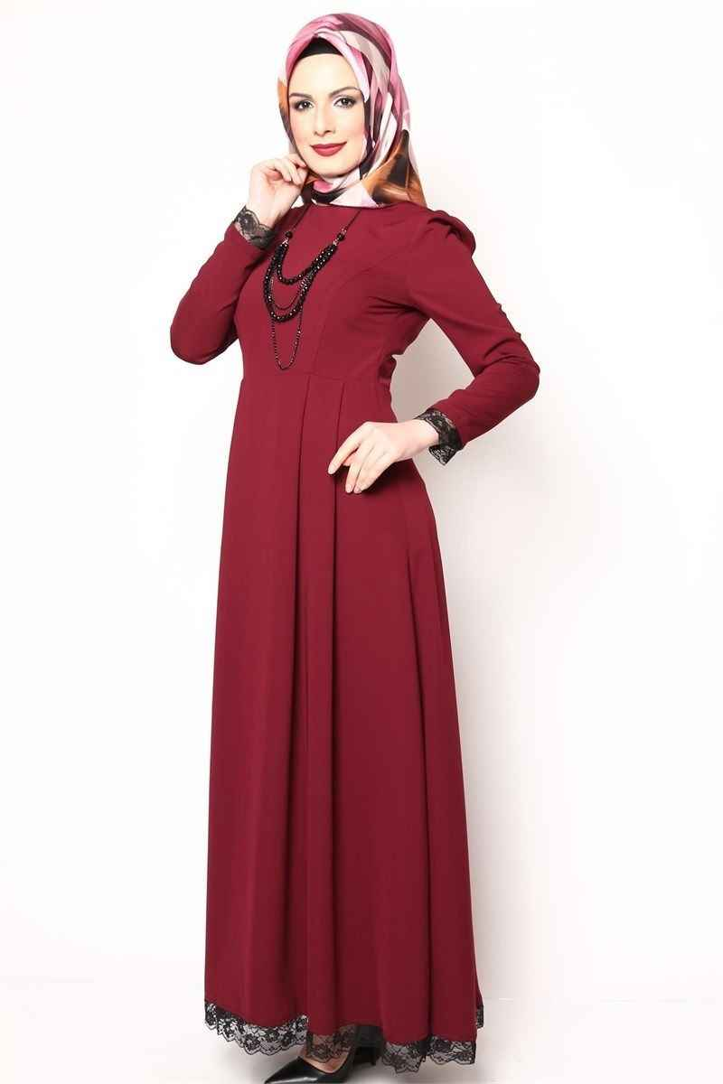 Modamerve Boncuk Kolyeli Tesettür Elbise Modelleri