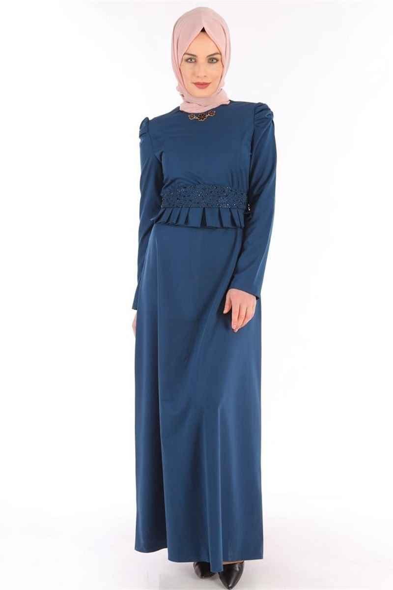 Modamerve Tesettür Büzgülü Abiye Elbise Modelleri