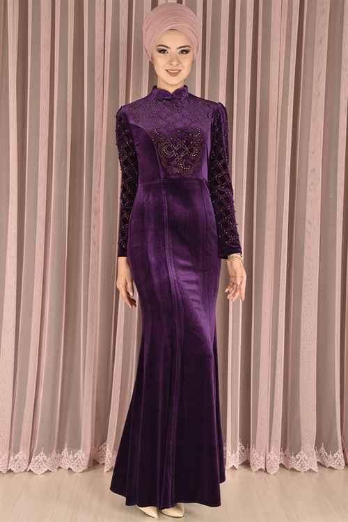Modamerve Tesettür Kadife Abiye Elbise Modelleri