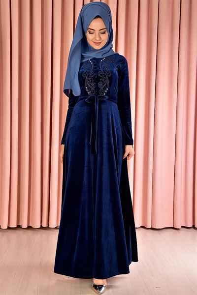Modamerve Tesettür Kadife Elbise Modelleri