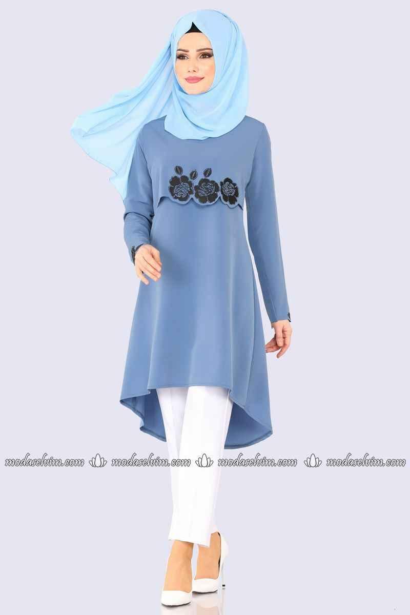 Modaselvim Detaylı Tesettür Mavi Renk Tunik