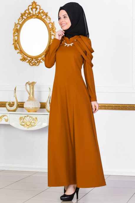 Modayaprak Kolyeli Tesettür Elbise Modelleri