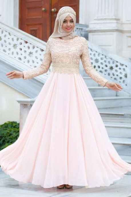 Modayaprak Tesettür Gold Rengi Abiye Elbise