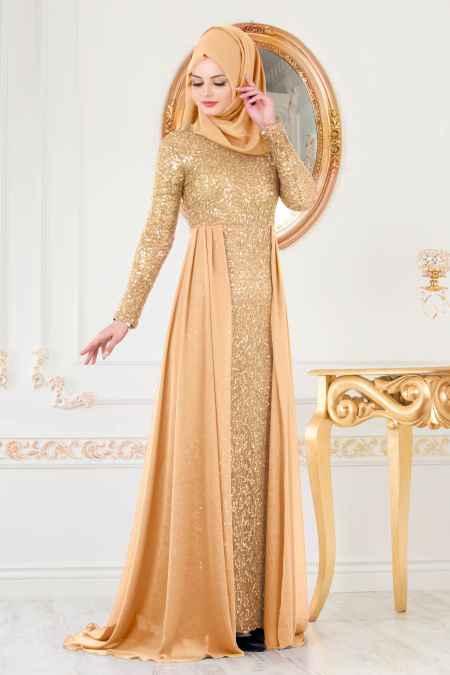 Nayla Colection Tesettür Gold Rengi Abiye Modelleri