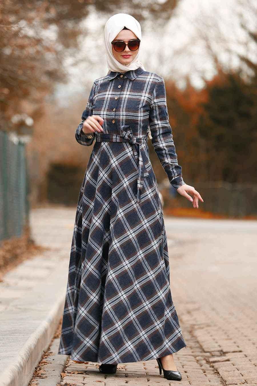 Nayla Collection Tesettür Ekoseli Elbise Modelleri