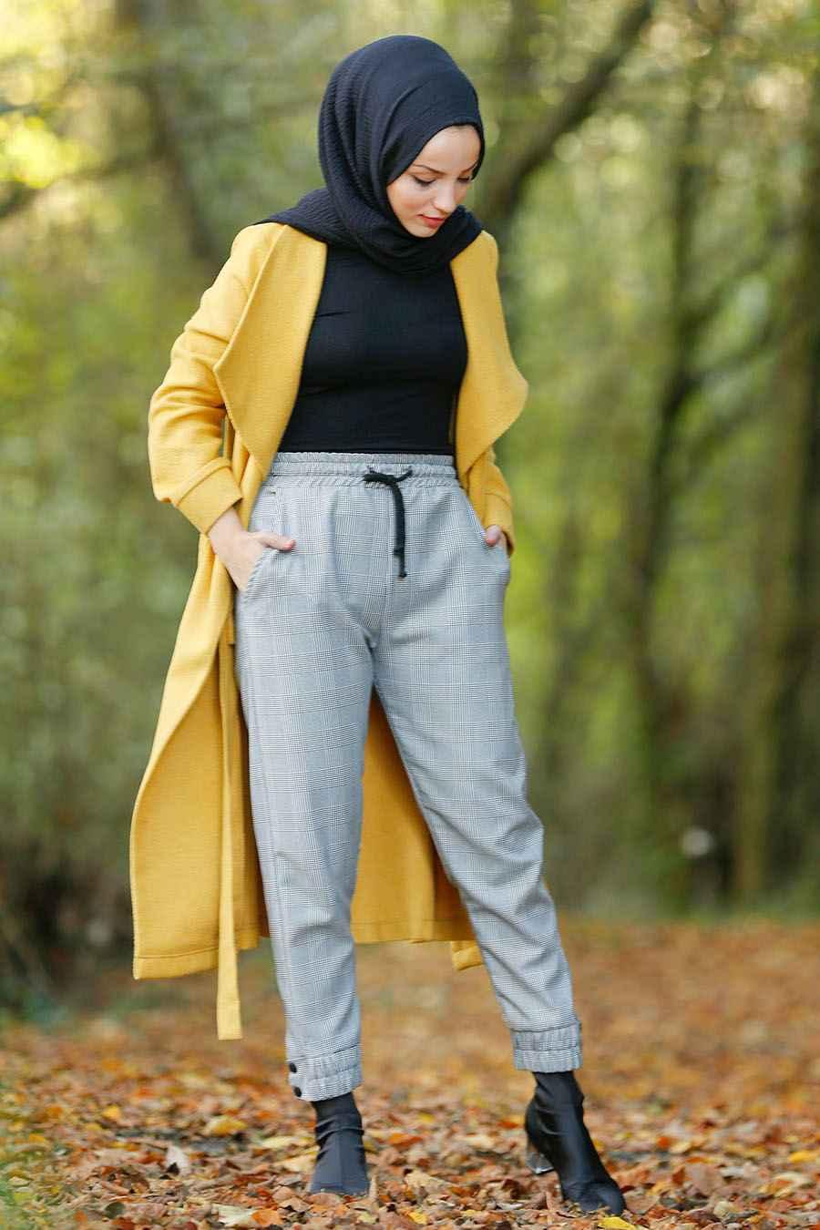 Nayla Collection Tesettür Ekoseli Pantolon Modelleri