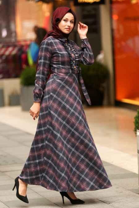 Nayla Collection Tesettür Ekoseli Uzun Gömlek Modelleri