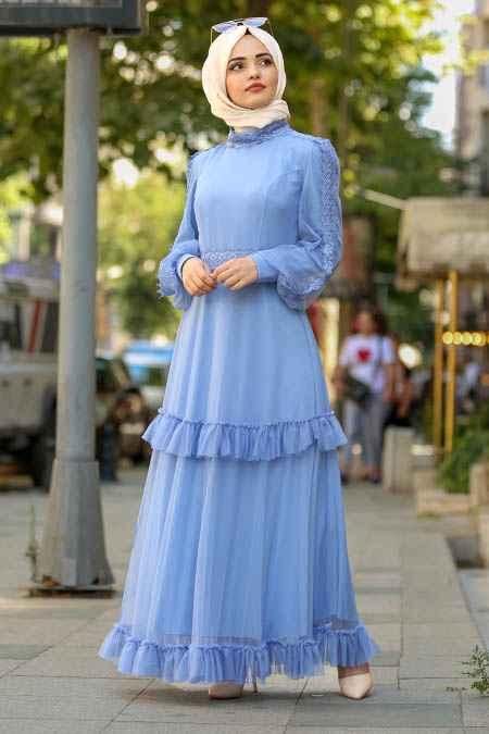 Nayla Collection Tesettür Mavi Renk Elbise
