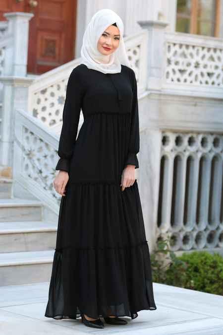 Neva Style Şık Tesettür Büzgülü Elbise Modelleri