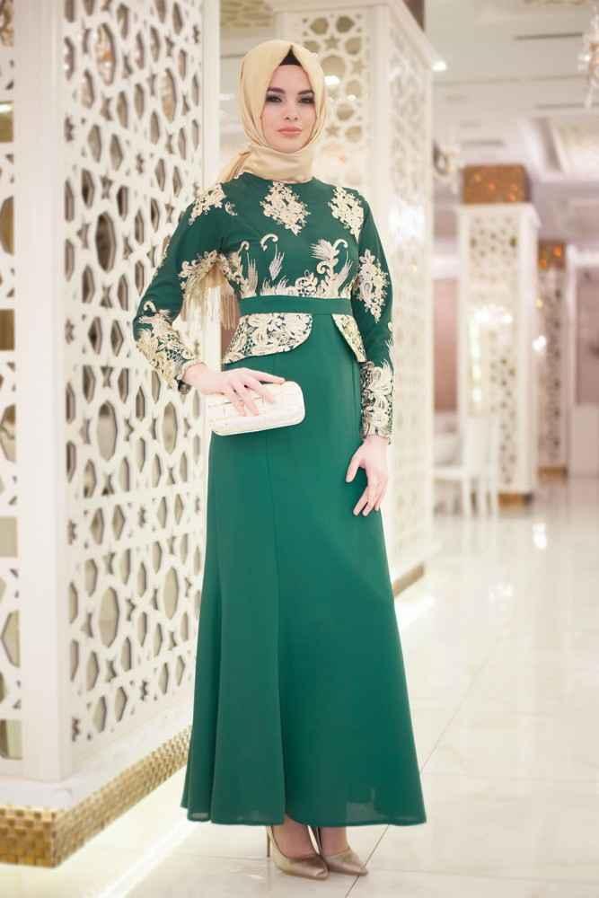 3fe920dc6ed5b Neva Style Dantel İşlemeli Tesettür Abiye Elbise Modelleri