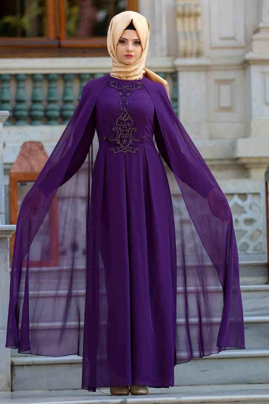 Neva Style Mürdüm Tesettür Abiye Elbise Modelleri