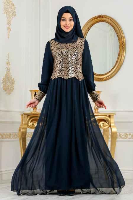 Neva Style Pul Payetli Tesettür Abiye Elbise Modelleri