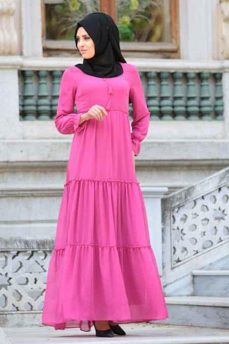 Neva Style Tesettür Büzgülü Elbise Modelleri