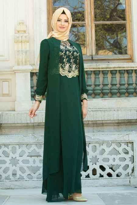 Neva Style Tesettür Dantel İşlemeli Abiye Elbise Modelleri