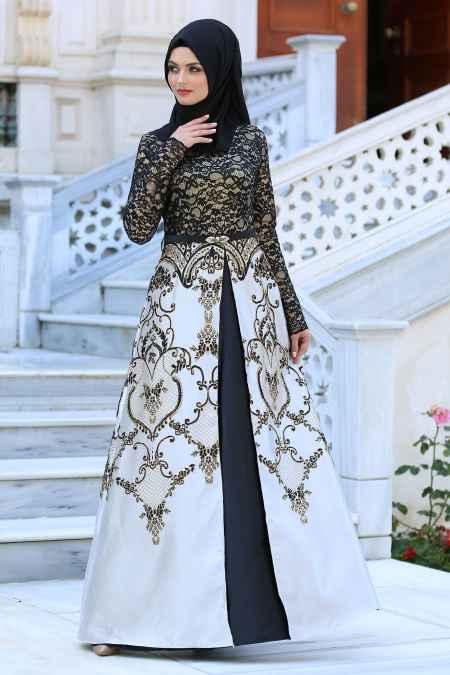 Neva Style Tesettür Gold Detaylı Abiye Elbise Modelleri
