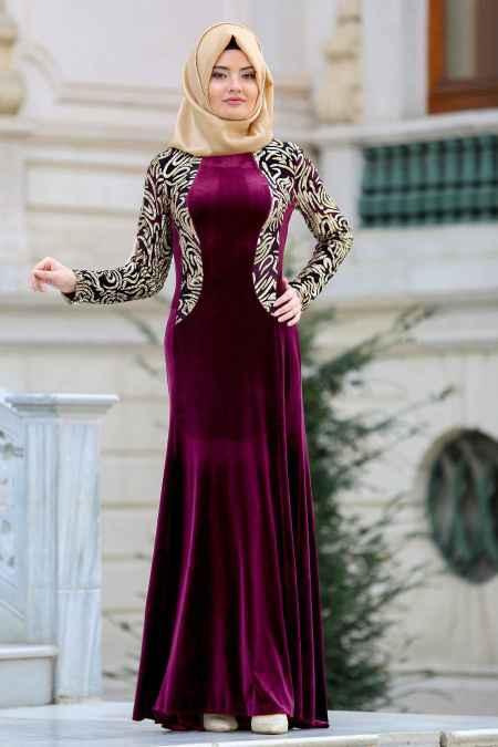 Neva Style Tesettür Kadife Abiye Elbise Modelleri