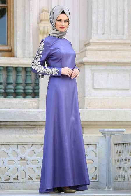 eb65d7f230196 Neva Style Tesettür Kol Detaylı Abiye Elbise Modelleri - Moda ...