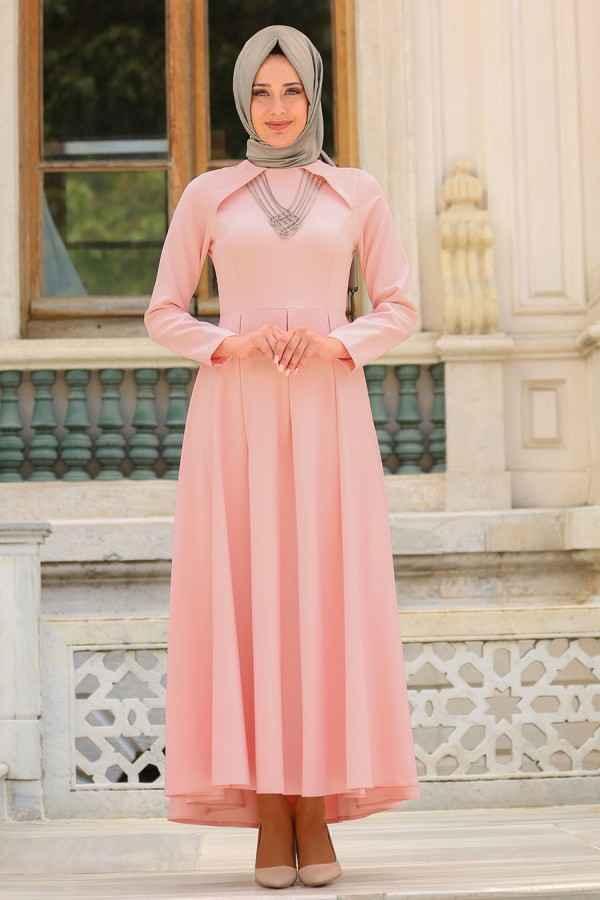 Neva Style Tesettür Kolye Detaylı Abiye Elbise Modelleri