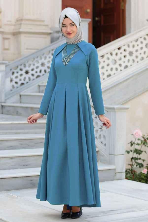 Neva Style Tesettür Kolyeli Abiye Elbise Modelleri
