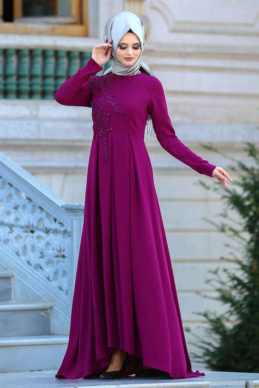 Neva Style Tesettür Pileli Abiye Elbise Modelleri