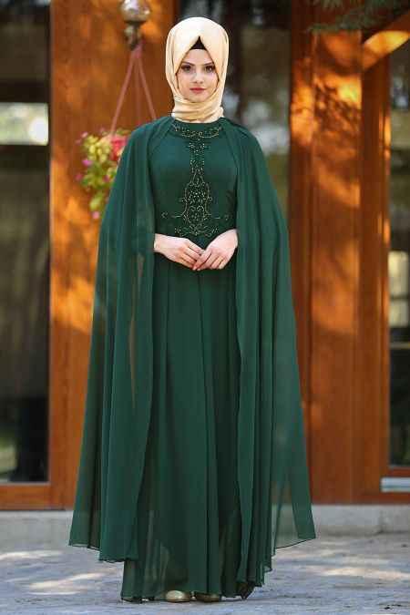 Neva Style Tesettür Taşlı Abiye Elbise Modelleri