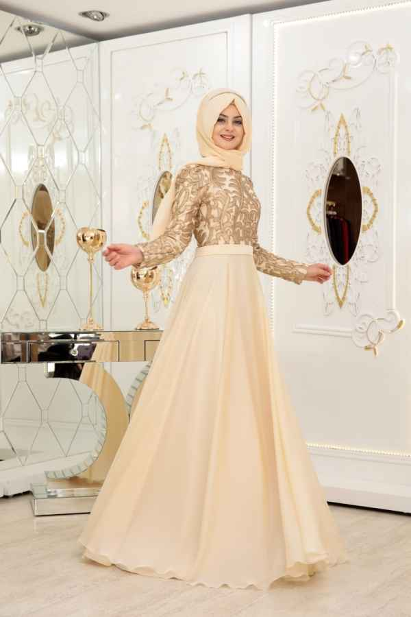Pınar Şems Tesettür Gold Rengi Abiye Elbise Modelleri