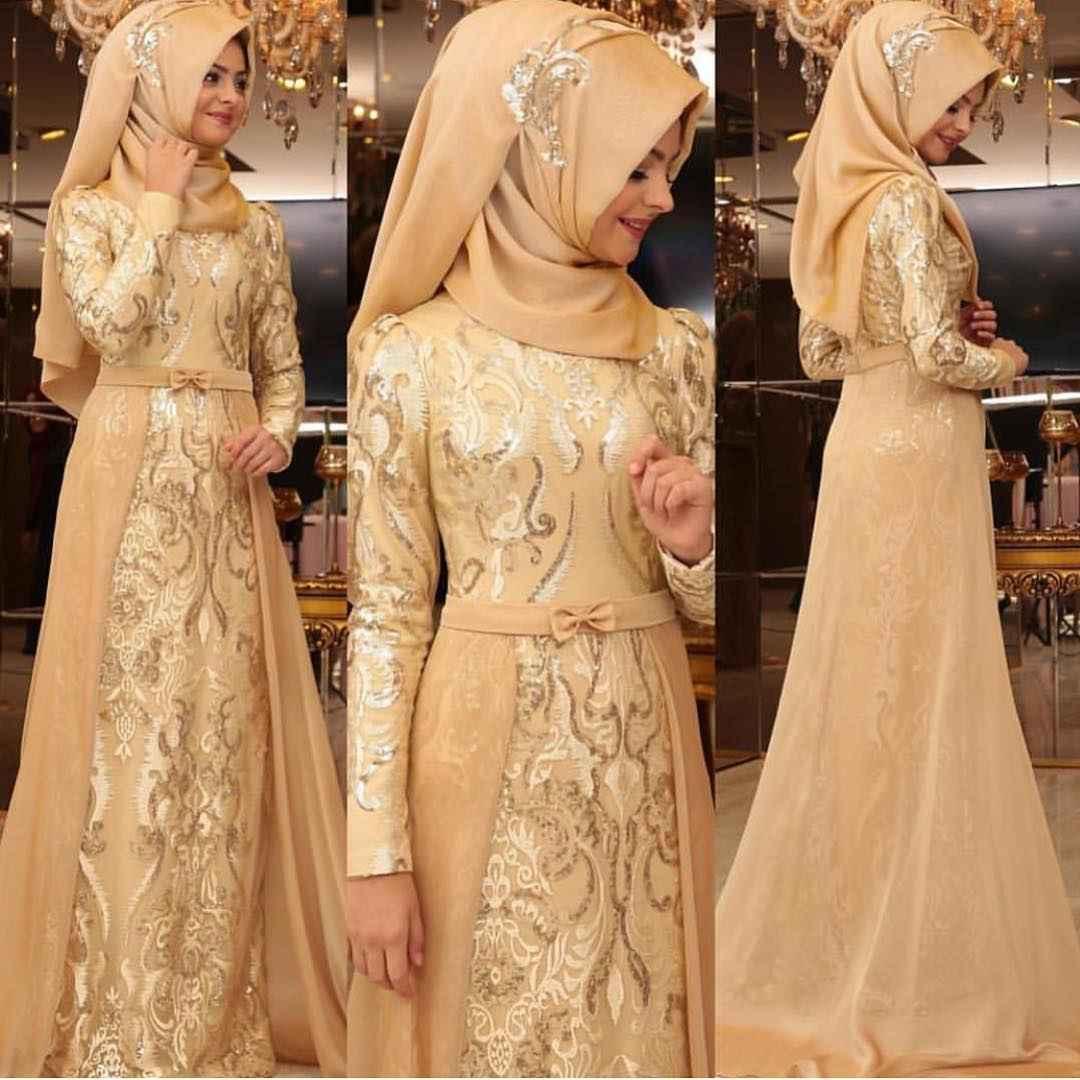 fa46f182c5c2b Pınar Şems Tesettür Gold Rengi Abiye Modelleri - Moda Tesettür Giyim