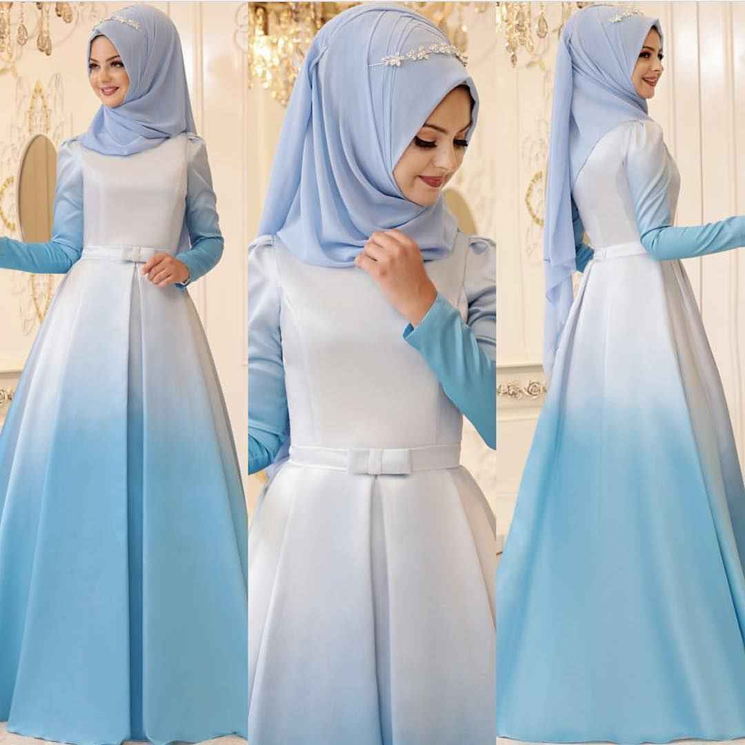 Pınar Şems Tesettür Mavi Renk Abiye Elbise