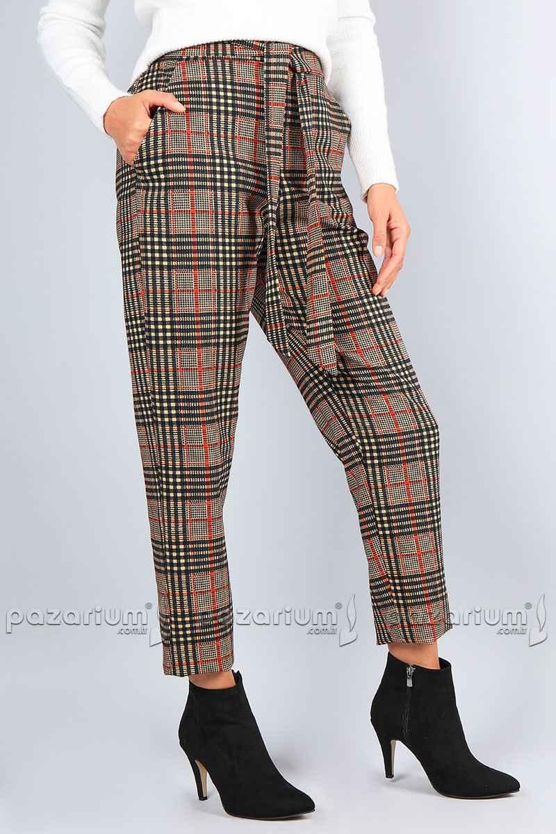 Ekoseli Kuşaklı Pantolon Modelleri