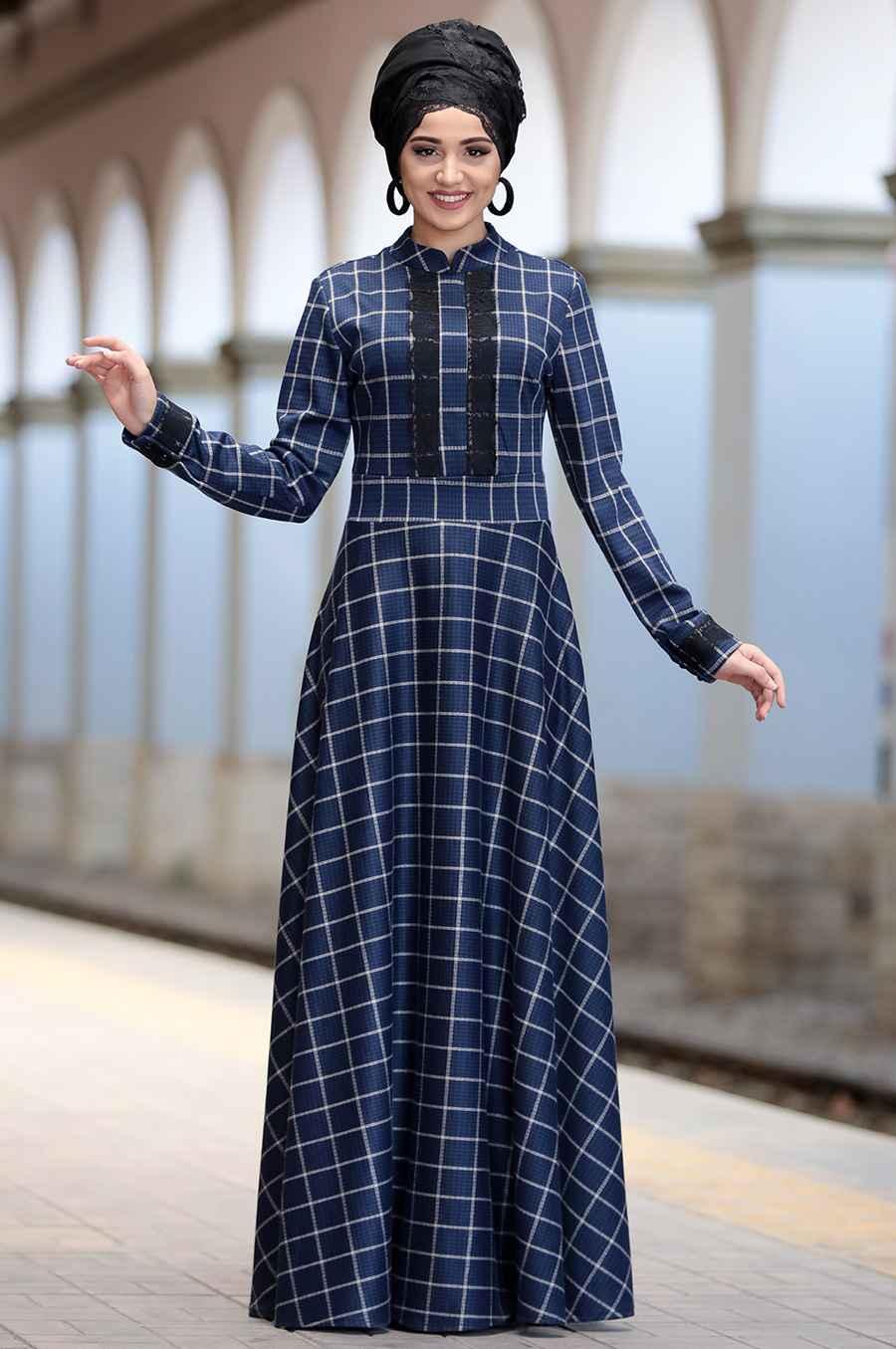 Piennar Tesettür Ekoseli Elbise Modelleri