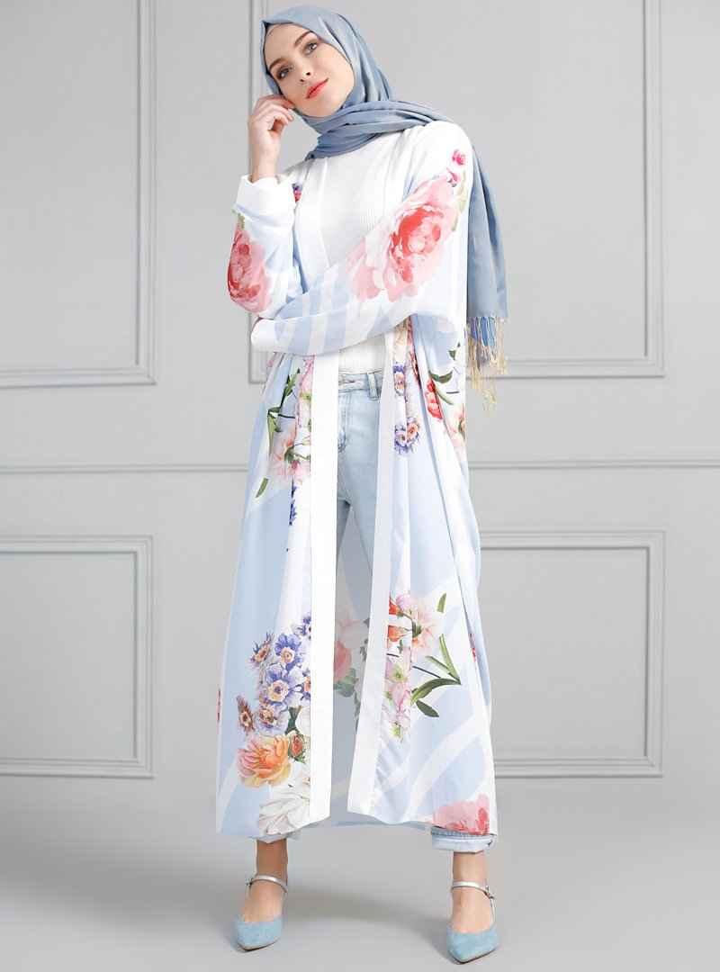 Refka Tesettür Çiçekli Kimono Modelleri