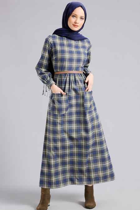 Refka Tesettür Ekoseli Elbise Modelleri