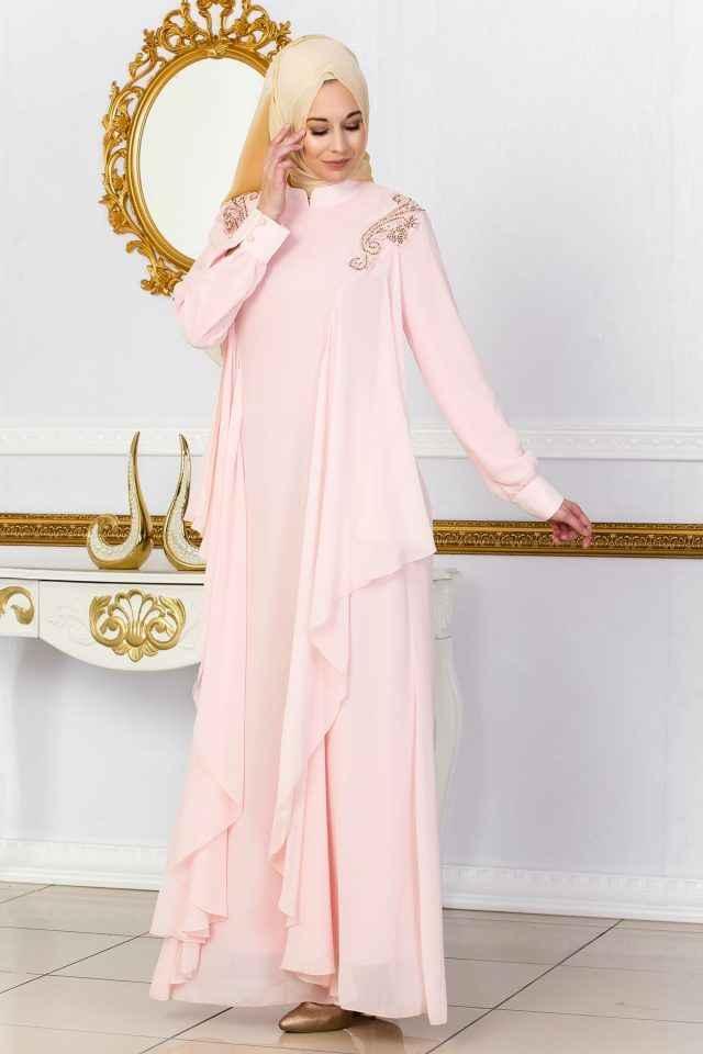 Sedanur Tesettür Şık Dökümlü Abiye Elbise Modelleri
