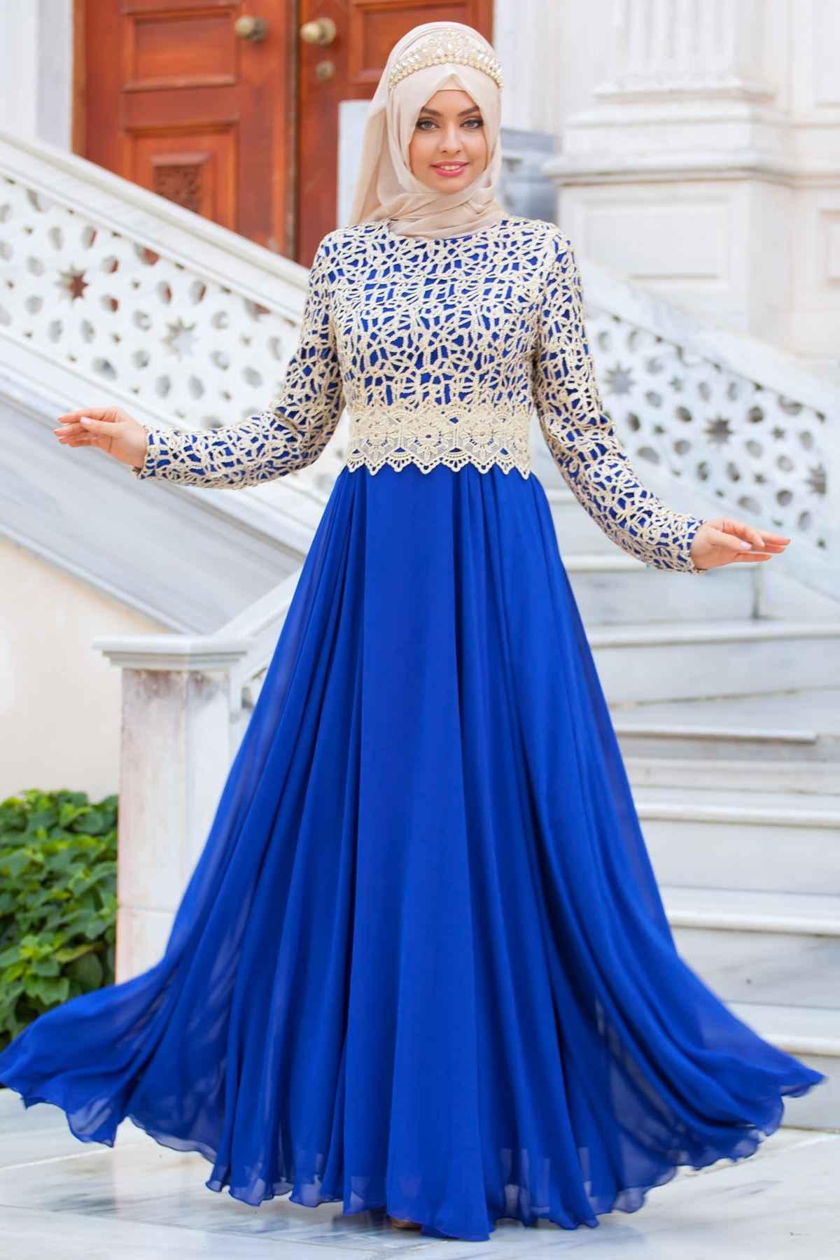 Sedanur Tesettür Gold Dantelli Abiye Elbise Modelleri