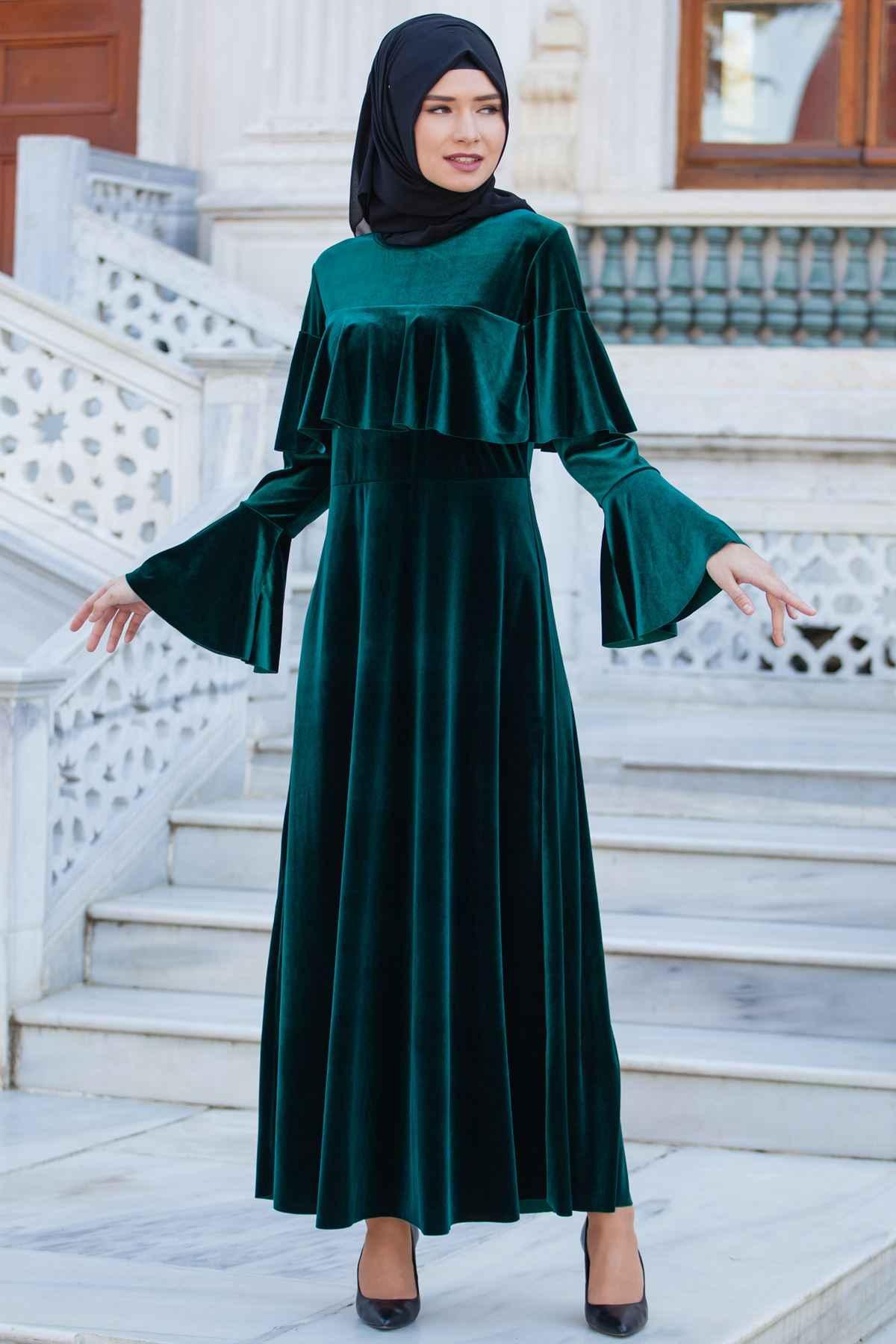 Sedanur Tesettür Volan Kol Kadife Elbise Modelleri