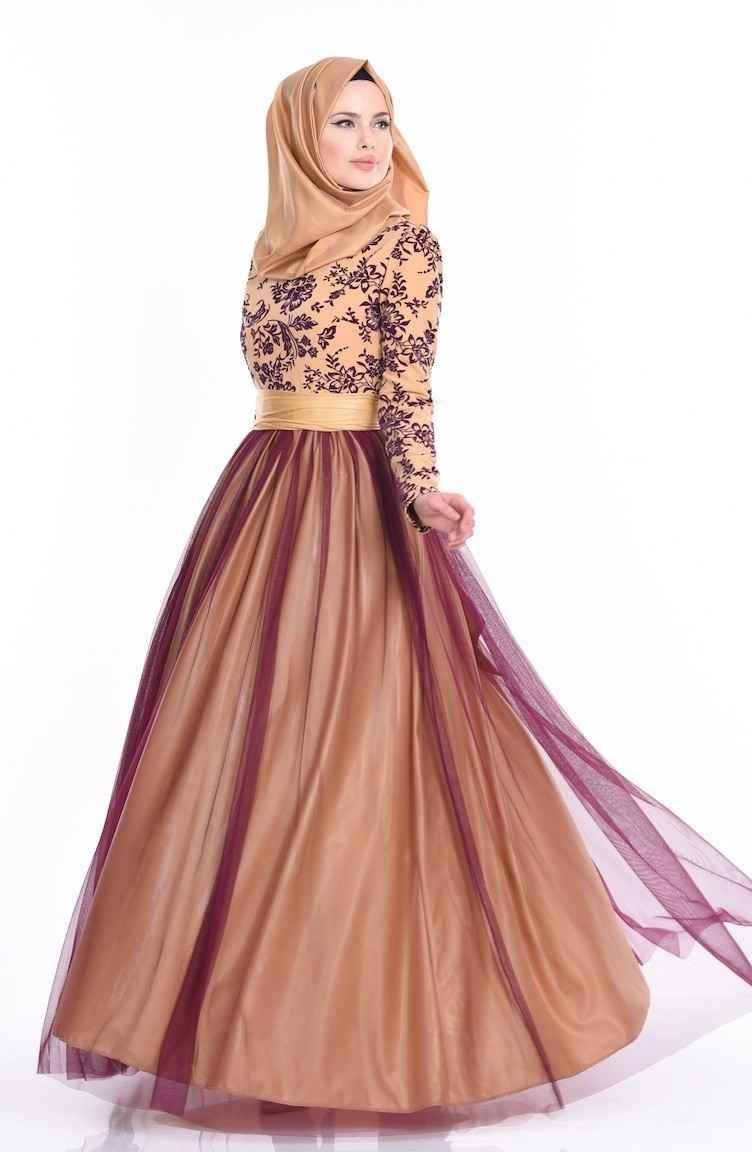 Sefamerve Tesettür Gold Rengi Abiye Elbise Modası
