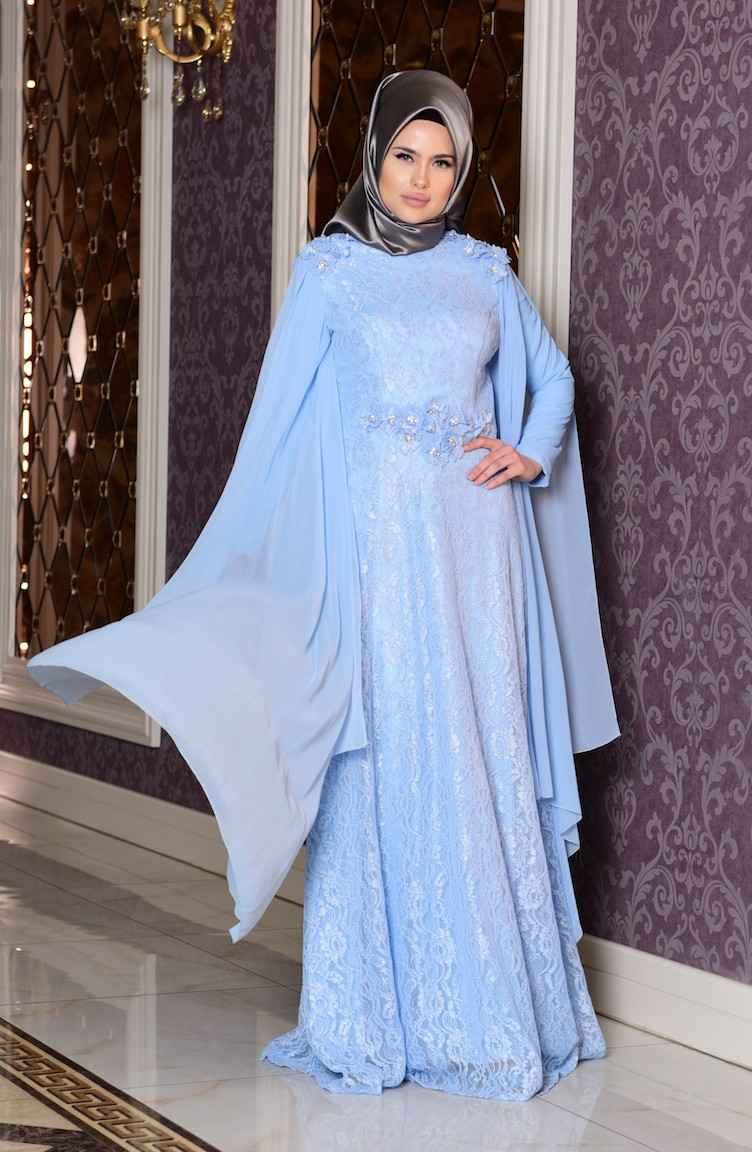 Sefamerve Tesettür Mavi Renk Abiye Elbise
