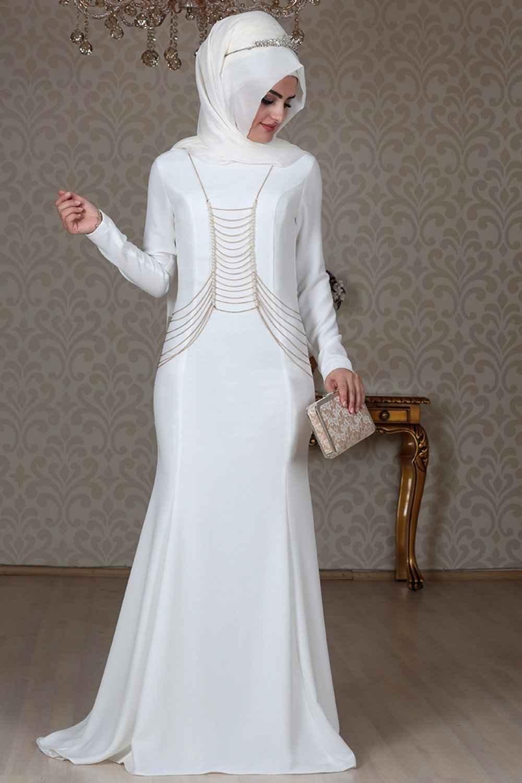 Sema Şimşek Ekru Zincirli Abiye Elbise Modelleri
