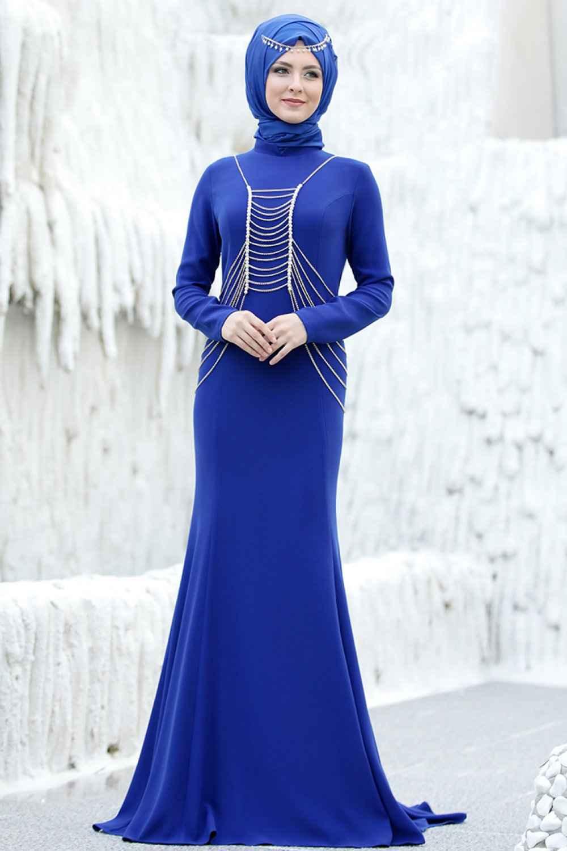 Sema Şimşek Tesettür Zincirli Abiye Elbise Modelleri