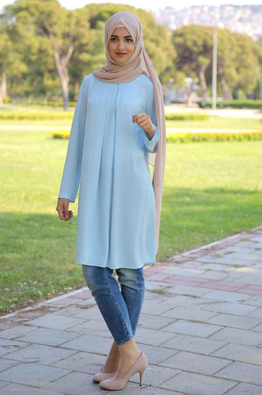 Som Fashion Tesettür Mavi Renk Tunik ModelleriSom Fashion Tesettür Mavi Renk Tunik Modelleri