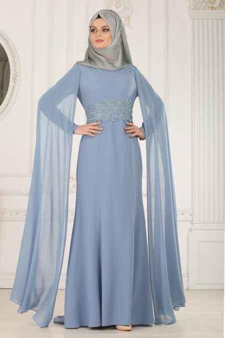 Tesettür İsland Mavi Renk Abiye Elbise Modelleri