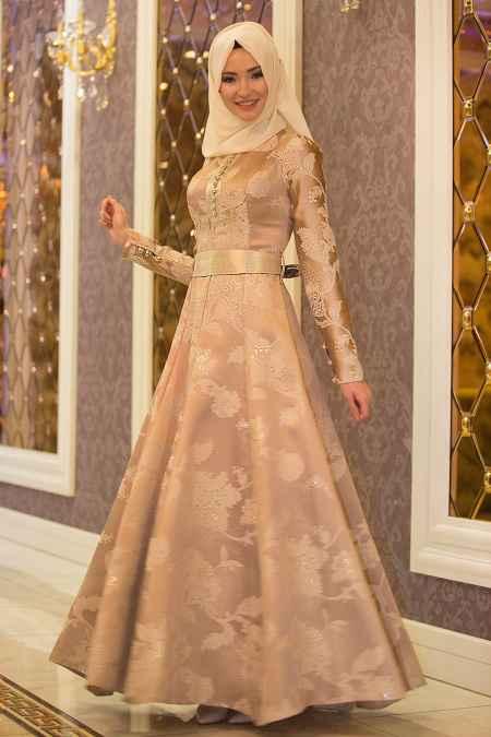 Tesettür İsland Tesettür Gold Rengi Elbise Modelleri